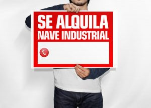 Cartel se alquila nave industrial